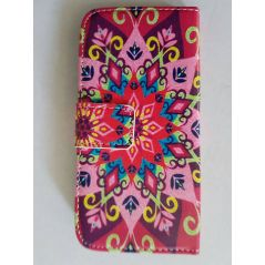 Leather Colorful Pinky Mandala Design Wallet Case for HTC One M9