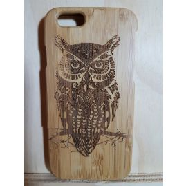 Natural Real 100% Bamboo Wooden Owl Back case Cover for Apple Iphone 4/4s